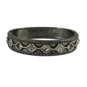 GUNMETAL SURAT DIAMOND SHAPE COIN BANGLE