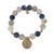 GOLD CONSTANTINE LAPIS AND GREY AGATE STRETCH BRACELET