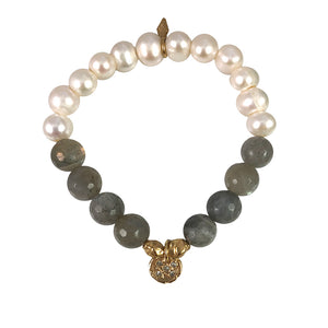 GOLD STILLA CRYSTAL LABRADORITE & PEARL STRETCH BRACELET