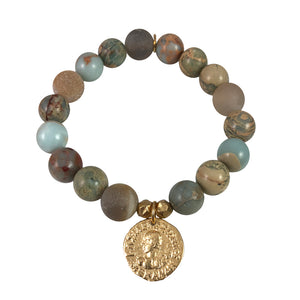 GOLD MENANDER BLUE OPAL & GREY AGATE STRETCH BRACELET