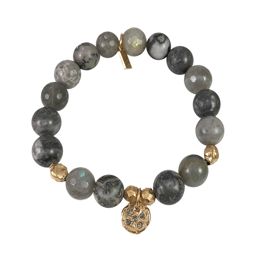 GOLD STILLA CRYSTAL LABRADORITE & CRAZY LACE STRETCH BRACELET