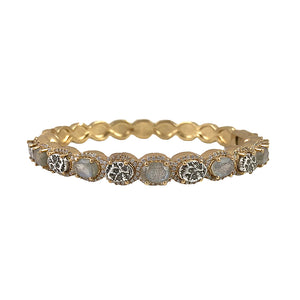 GOLD HATI LABRADORITE & COIN BANGLE