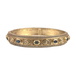 GOLD BELA SMALL OVAL LABRADORITE & COIN BANGLE