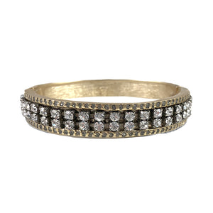 GOLD VIDRE BLACK DIAMOND & CLEAR BANGLE