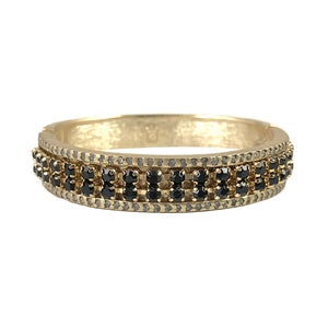 GOLD VIDRE BLACK DIAMOND & JET BANGLE
