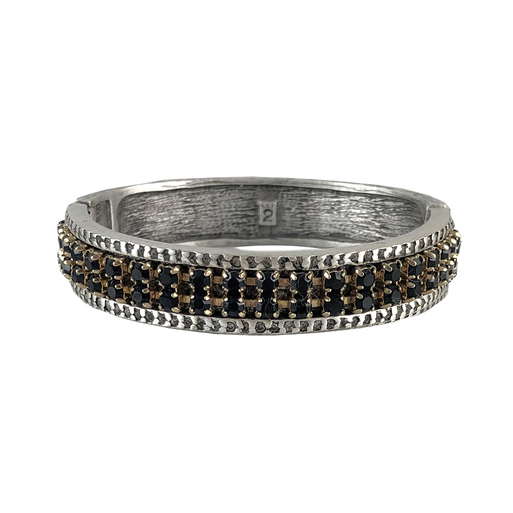 VINTAGE SILVER & GOLD VIDRE BLACK DIAMOND & JET BANGLE