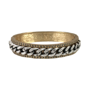 GOLD CHAIN LINK CRYSTAL FRAME BANGLE