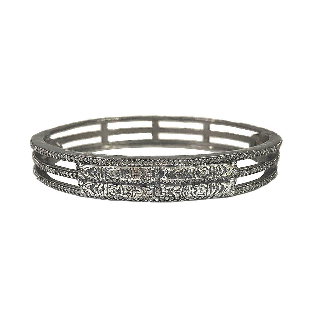GUNMETAL BASKA PANEL BANGLE