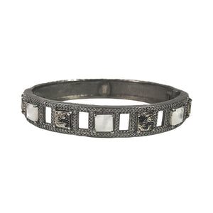 GUNMETAL BAIRI MOONSTONE & COIN BANGLE