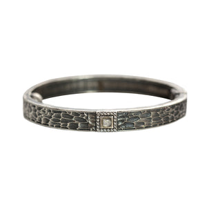 VINTAGE SILVER HALLER LABRADORITE & CRYSTAL THIN BANGLE