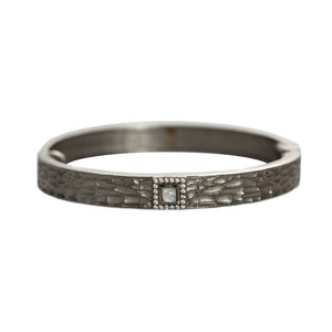 GUNMETAL HALLER MOONSTONE & CRYSTAL THIN BANGLE