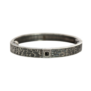 VINTAGE SILVER HALLER ONYX & CRYSTAL THIN BANGLE
