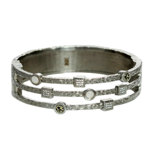 GUNMETAL DANUBE MOONSTONE & CRYSTAL 3 ROW BANGLE