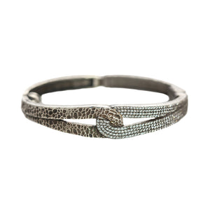GUNMETAL ROCKOVE CRYSTAL & HAMMERED LOOP BANGLE