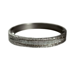 GUNMETAL VELEN CRYSTAL INLAY BANGLE