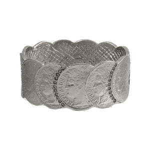 VINTAGE SILVER REPUBLIQUE COIN SCALLOPED BANGLE