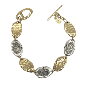 GOLD IMPRESSION TWO TONE LINK BRACELET