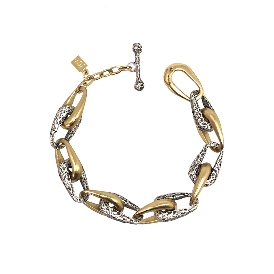 TWO TONE CONNECTED LINK BRACELET