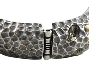 ANTIQUE SILVER PAVIA COIN & CRYSTAL HAMMERED WAVE BANGLE