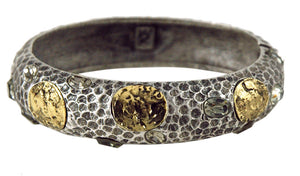 PAVIA COIN & CRYSTAL ANTIQUE SILVER HAMMERED BANGLE