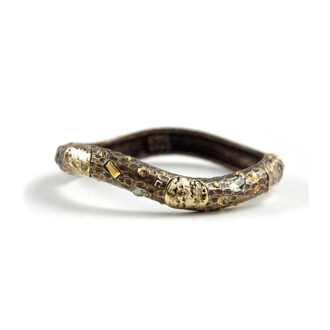 ANTIQUE BRASS PAVIA COIN & CRYSTAL HAMMERED WAVE BANGLE