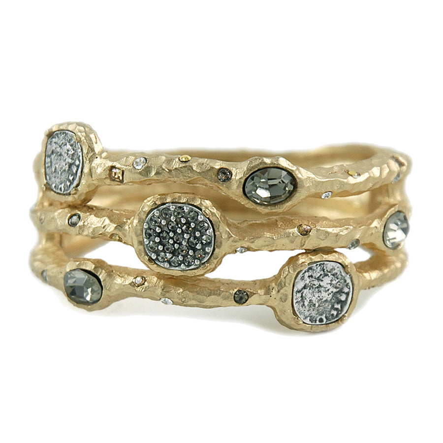 GOLD CAPRI 3 ROW COIN & CRYSTAL PAVE BRACELET