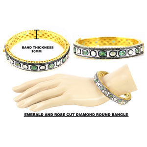 VERMEIL TANDA EMERALD DIAMOND BANGLE