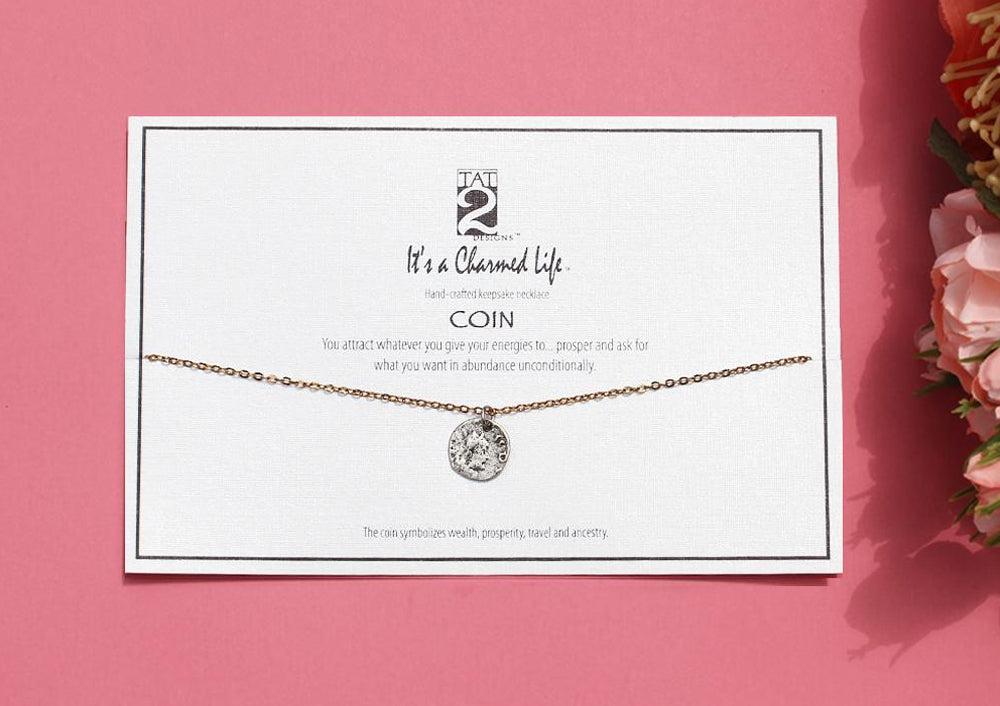 VINTAGE SILVER COIN KEEPSAKE CHARMED LIFE NECKLACE