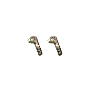 BLACK RHODIUM DIAMOND BAR STUD EARRINGS