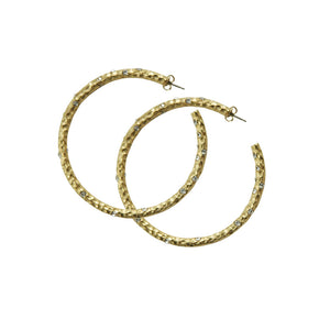 "2"" GOLD PAVIA HOOP WITH CRYSTALS"