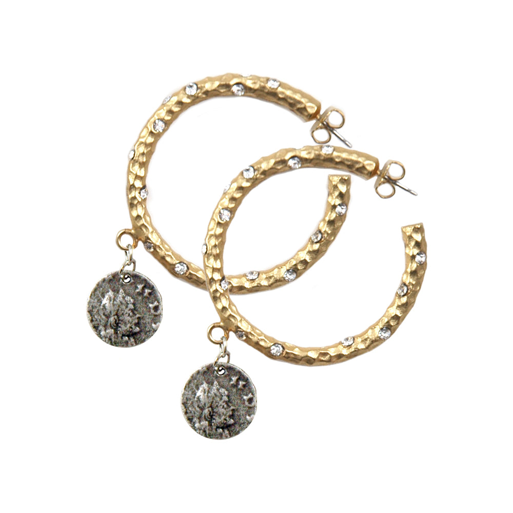 "1.5"" GOLD PAVIA HOOP WITH CRYSTALS & DANGLING COIN"