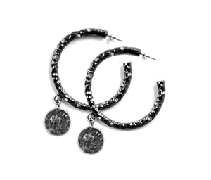 GUNMETAL PAVIA HOOP WITH CRYSTALS & DANGLING COIN