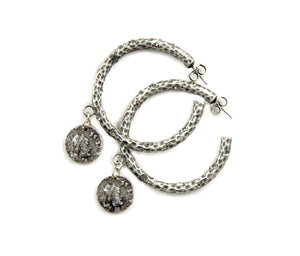 ANTIQUE SILVER PAVIA HOOP WITH CRYSTALS & DANGLING COIN