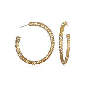 1.5 GOLD PAVIA HOOP WITH CRYSTALS