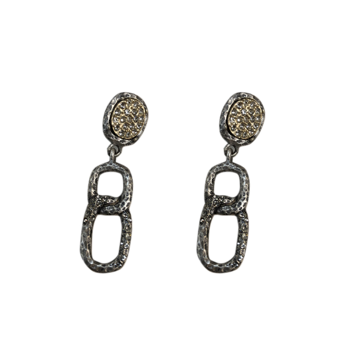 VINTAGE SILVER PAVIA PAVE & LINK EARRINGS