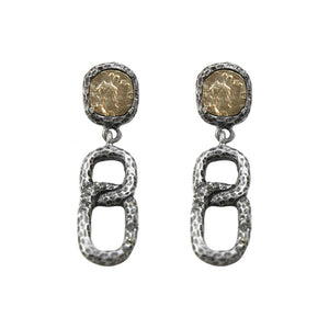 VINTAGE SILVER PAVIA COIN & LINK EARRINGS