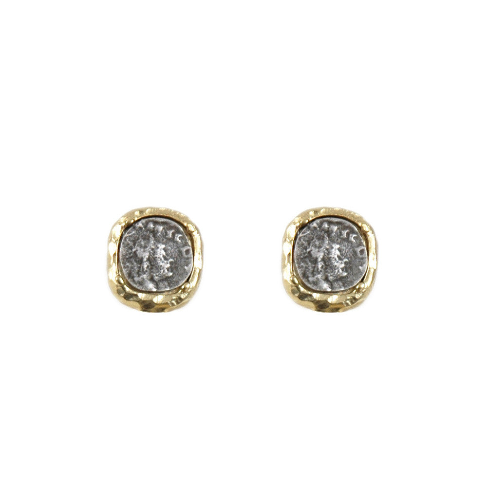 VINTAGE SILVER PAVIA COIN & FRAME STUD EARRINGS
