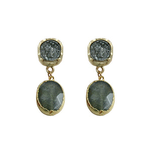 GOLD PAVIA COIN & LABRADORITE EARRINGS