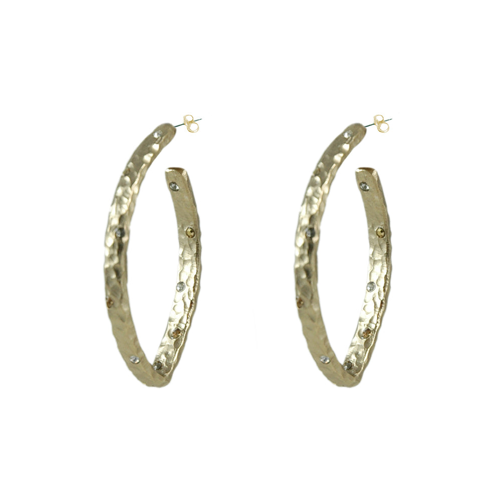 GOLD SIENA HAMMERED V-SHAPE HOOP EARRINGS