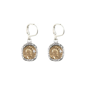 VINTAGE SILVER PAVIA COIN & FRAME DANGLE EARRINGS
