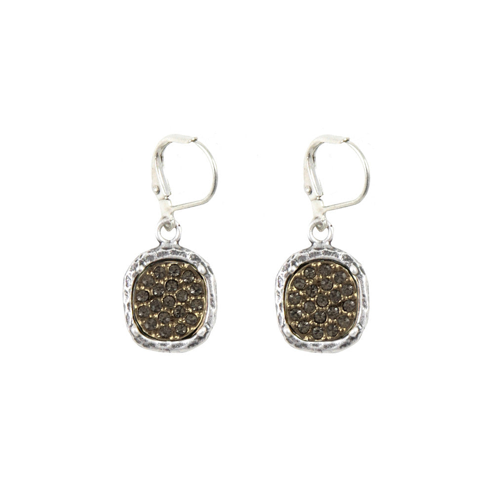 VINTAGE SILVER PAVIA PAVE & FRAME DANGLE EARRINGS