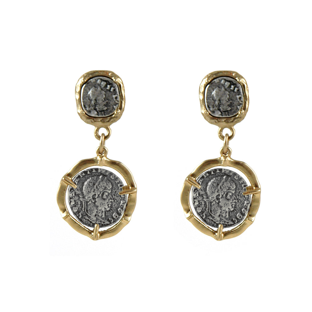 GOLD DOUBLE COIN EARRINGS