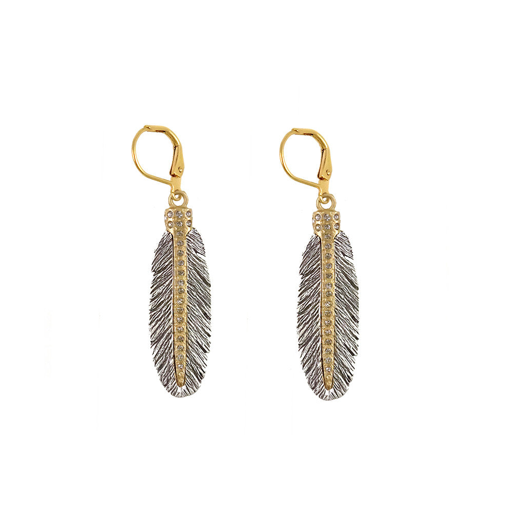 VINTAGE SILVER CASBAH MINI FEATHER EARRINGS