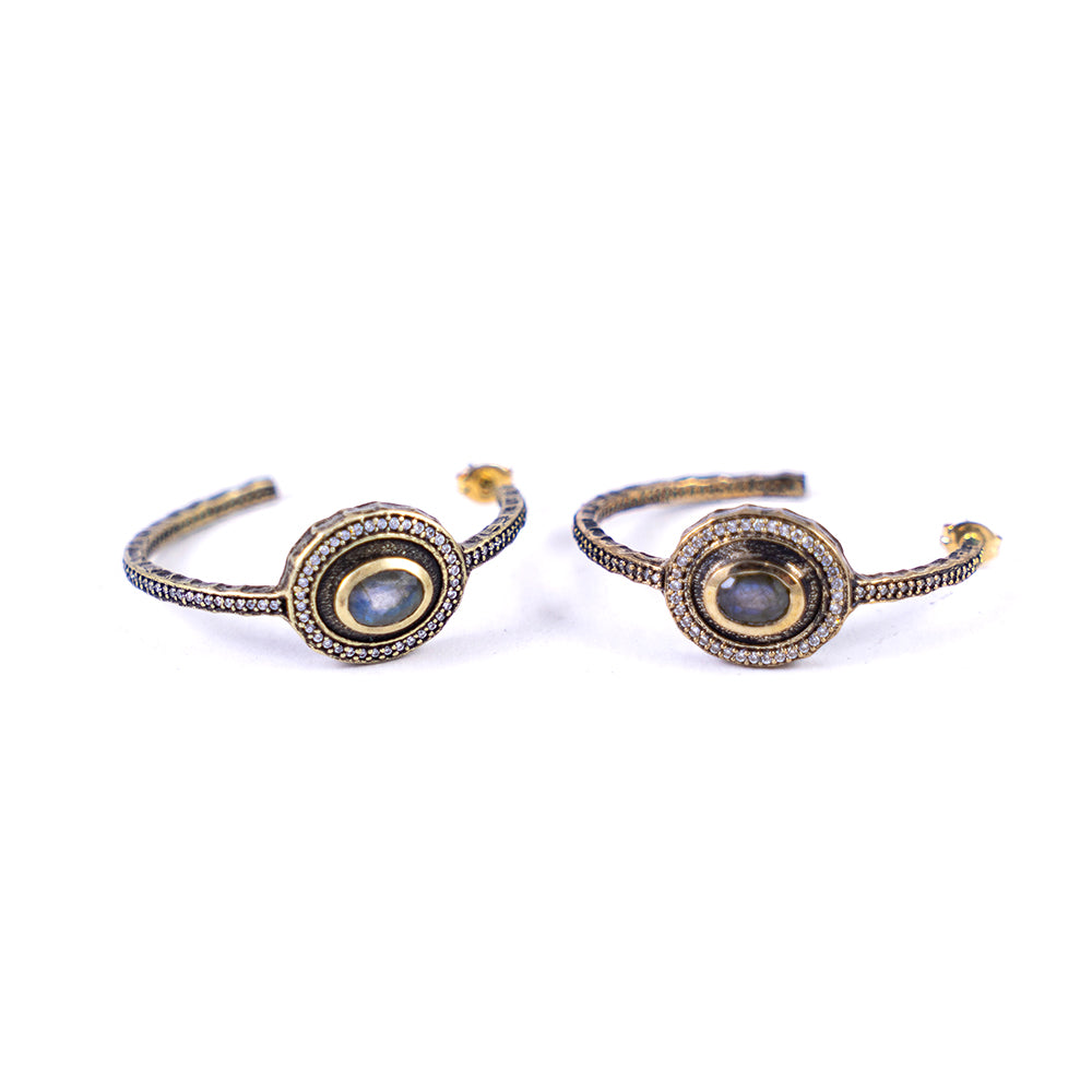 VINTAGE GOLD LABRADORITE TALEN HOOP EARRINGS