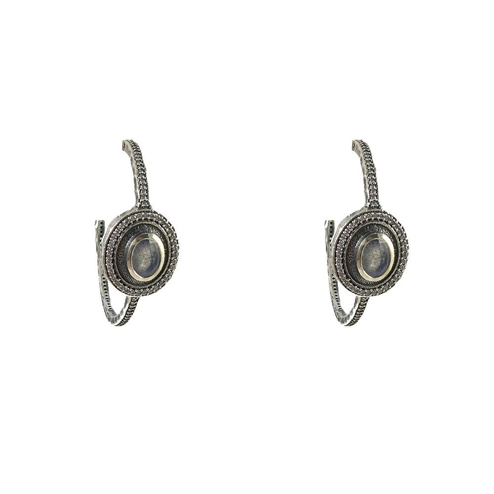 VINTAGE SILVER LABRADORITE TALEN HOOP EARRINGS