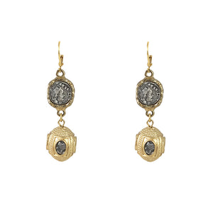 GOLD JAIPUR COIN & BEAD EARRINGS
