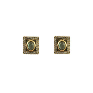 VINTAGE GOLD LABRADORITE MINI BELA STUD EARRINGS