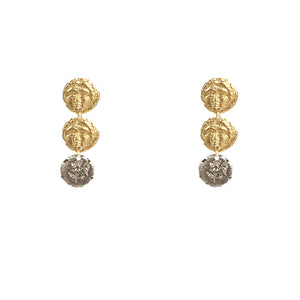 GOLD APOLLONIA THREE COIN POST EARRING
