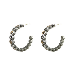VINTAGE SILVER PIRA COIN & CRYSTAL HOOPS