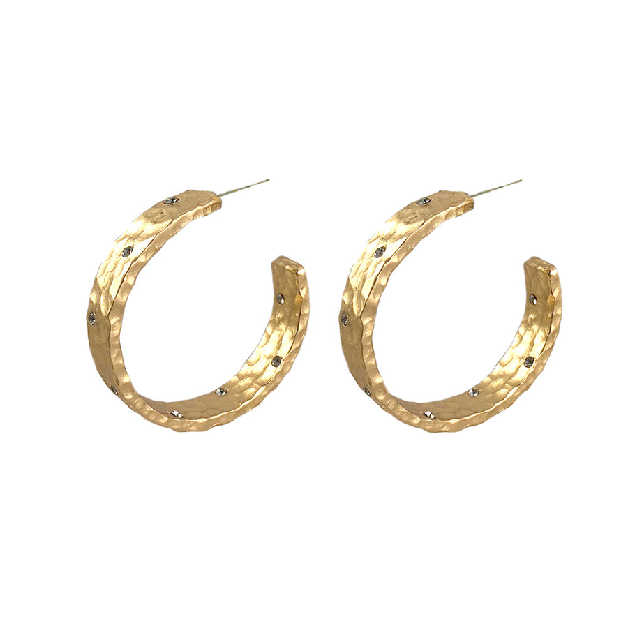 GOLD NOVI WIDE HAMMERED HOOPS